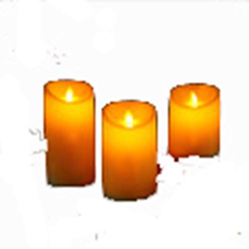 Candle Set of 3 Amber Flameless Led Pillar 34/5/6 Moving Wick Dancing Flame Battery Operated Halloween