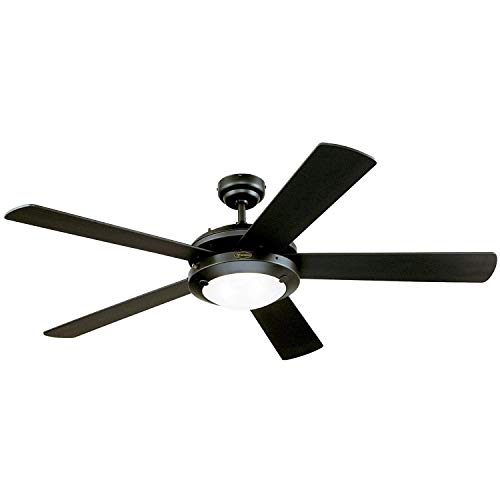 Ciata Lighting Comet 52-Inch Reversible Five-Blade Indoor Ceiling Fan Matte Black Finish with Two-Light Frosted Glass
