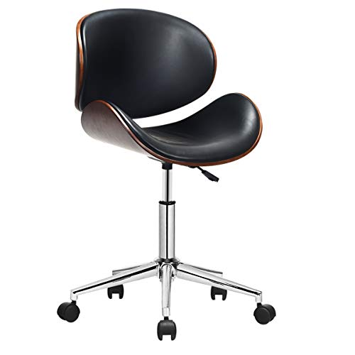 COSTWAY Home Office Chair, Rolling Swivel Executive Computer Desk Chair w/Adjustable Height, Universal Nylon Casters, and Roller Wheels, Ergonomic Heavy Duty PU Leather for Home, Office (Black)