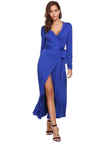 (Women's Tulip Wrap Hogh Split Multi Way Party Bandage Long Maxi Dress Royal Blue Small)