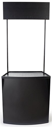 Displays2go Black Demonstration Counter with Sign Header Only Weighs 14-lbs. And Comes with 2 Interior Shelves And A Carrying Case, Gloss Black Plastic And Aluminum Body, 32 x 81 x 18-1/2 Inches (PROMONTBLK)