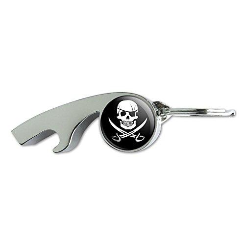 Jolly Roger Skull Keychain - Pirate Skull Crossed Swords Jolly Roger Chrome Plated Metal Whistle Bottle Opener Keychain Key Ring