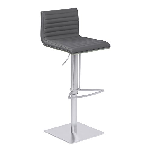 Armen Living LCCABAGRBS Cafe Adjustable Barstool in Grey Faux Leather and Brushed Stainless Steel Finish