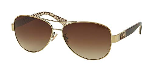 Coach Women's HC7047 Sunglasses Gold/Dark Tortoise Sand Sig C/Khaki Gradient 59mm
