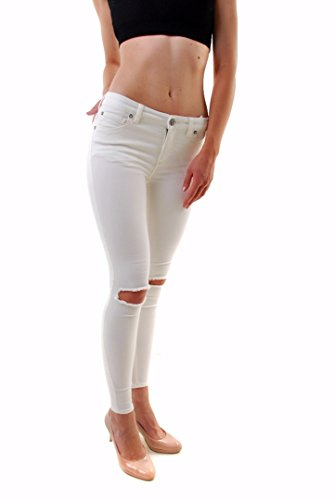 Free People Mujer Skinny Destroyed Jeans Blanco