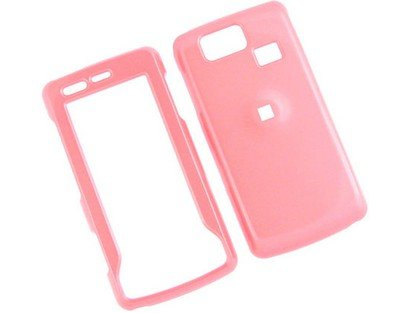 Solid Pink Snap-On Cover Hard Case Cell Phone Protector for LG Versa VX9600 VX-9600 [Beyond Cell (Transparent Pink Color Faceplate)