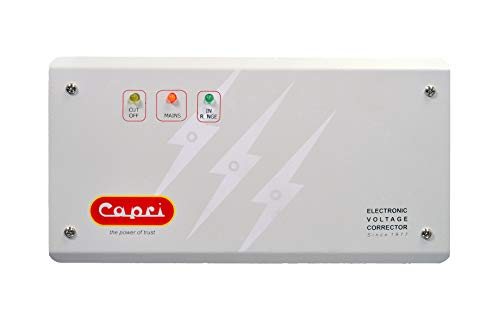 CAPRI CA 130-100 ITD Electronic Voltage Stabilizer for Double Compressor Refrigerator/Deep Freezers/Water Coolers with… 2021 August Suitable For Double Compressor Refrigerator/Deep Freezers/Water Coolers Led Display Working Range 130-280V