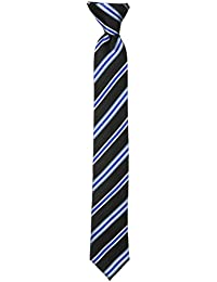 Big Boys' Stripe Clip On Tie, Black, One Size