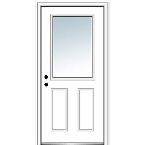 National Door Company Z000713R Steel Primed, Right Hand in-Swing, Prehung Front Door, 1/2 Lite 2-Panel, Clear Glass, 30