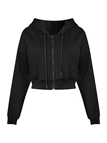 Joeoy Women's Black Drawstring Zip up Fleece Hoodie Coat Jacket Crop Top-S