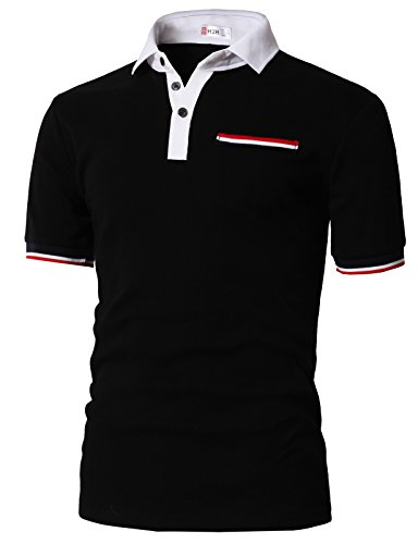 H2H Mens Baggy Fit Short Sleeve Color Line Point Polo T-Shirts Black US L/Asia XL (KMTTS0555) by H2H