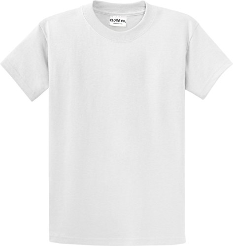 - Clothe Co. Mens Heavyweight 100% Cotton Short Sleeve T-Shirt, White, 6XL