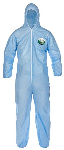 Lakeland SafeGard Economy SMS Coverall with Hood, Disposable, Elastic Cuff, Small, Blue (Case of 25) ()