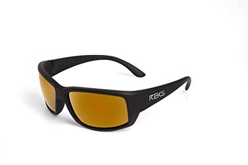 [REKS Polarized Unbreakable WRAP AROUND Sunglasses, Black Frame, Gold Mirror Lens] (Gold Wrap Around Sunglasses)