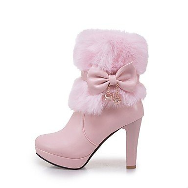 Toe CN40 Heel 5 Round Chunky RTRY For US8 Winter Boots Ankle UK6 EU39 Women'S 5 Boots Booties Boots Dress Casual Shoes Blushing Fashion Bowknot Pink Leatherette wq4vp8