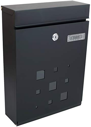 PEELCO Locking Modern Mailboxes for Outside - Vertical Wall Mount - Residential, Office, Business - Rust & Weather Proof - Unique Spare Keys (Black)