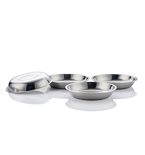 (Global Wansheng Cat Food Bowl, Whisker Relief Cat Bowl, Stainless Steel Pet Bowl, Shallow Dog Food Dish, Outer Diameter 7 2/5 Inch, 4-Set)