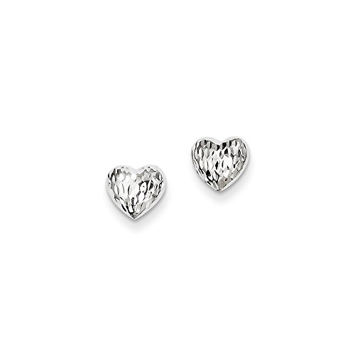 Diamond Open Heart Earrings - 14k Gold White Gold Diamond-Cut Heart Earrings (0.28 in x 0.28 in)