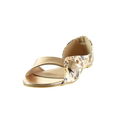 Angkorly - Chaussure Mode Sandale ouverte sexy femme fleurs lanière boucle Talon bloc 1 CM - Champagne