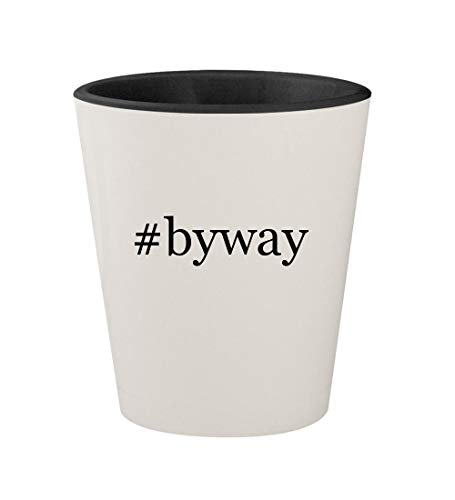 #byway - Ceramic Hashtag White Outer & Black Inner 1.5oz Shot Glass (Best Scenic Drives In Ohio)