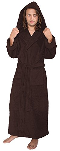 Arus Men s Hood n Full Ankle Length Hooded Turkish Cotton Bathrobe L  Chestnut Brown by 91e1bca95