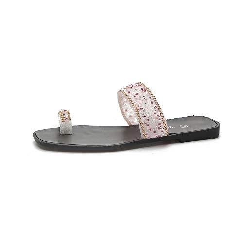 Pink Size Wild Personality Color Flat Toe Summer Female 37 Blue Slippers Rhinestone z8qdB