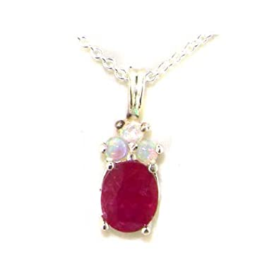 Ladies Solid 925 Sterling Silver Natural Ruby and Opal Contemporary Pendant Necklace