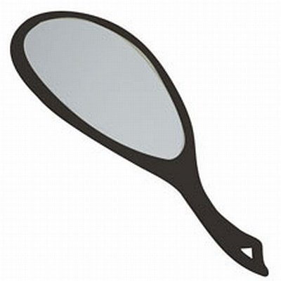 SOFT 'N STYLE Pro Hand Mirror 19.5 x 10.5 Black MR-7703BLK (Smooth Mirror Style)