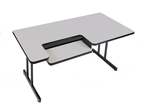 Computer Table- Bi Level Work Station (30 in. x 72 in./Gray Granite) Bi Level Computer Workstation