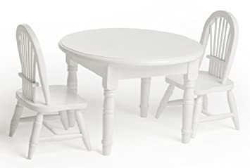 18 Doll White Wooden Table And Chairs Set Fits American Girl Doll