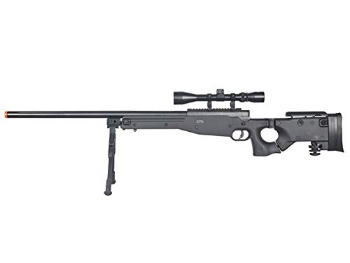 (Well MB08 Airsoft Sniper Rifle W/Scope and Bipod - Black)