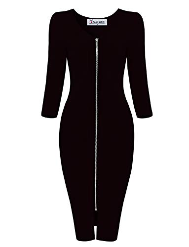 - TAM WARE Womens Sophisticated Front Zip 3/4 Sleeve Bodycon Midi Dress TWCWD128-BLACK-US S