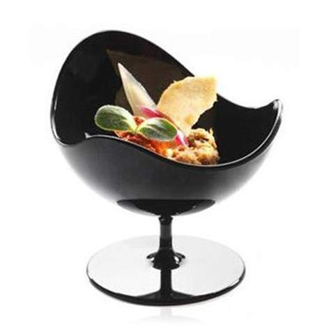 Scallop Stem Cup - 2 ounce - 24 Count - Black Hard Plastic - Appetizer Cup - Parfait Cup - Serving Bowl - Disposable or Reusable - Ideal for Desserts, Appetizers, Entrees, Puddings, Tastings, and More