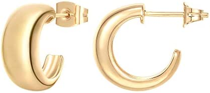 PAVOI 14K Gold Plated Sterling Silver Post Thick Huggie Earrings - Small Round Hoop Earrings in Rose Gold, White Gold and Yellow Gold Plating