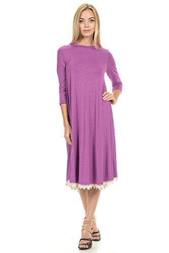 Pastel by Vivienne Women's Midi Swing Dress with Crochet Lace Trim Detail Small Mauve ()