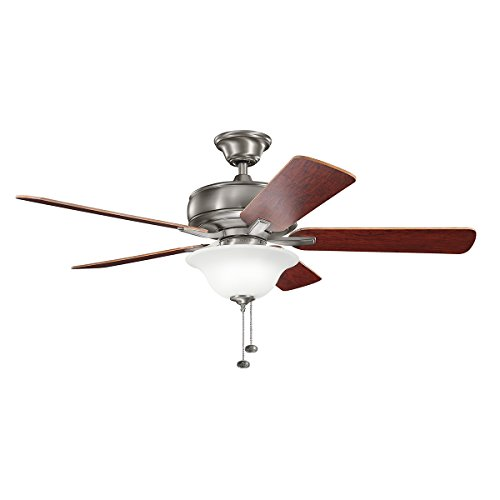 Select 52 Ceiling Fan (Kichler 330248BAP 52 Inch Terra Select Ceiling Fan, Pull Chain, Burnished Antique Pewter Finish with Dark Cherry/Weathered White Walnut Blades)
