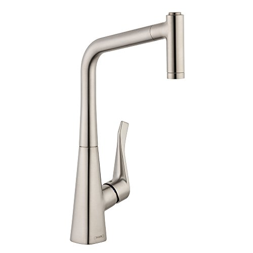hansgrohe Metris Easy Install 1-Handle 17-inch Tall Stainless Steel Kitchen Faucet with Pull Down Sprayer Magnetic Docking Spray Head in Steel Optic, 14820801
