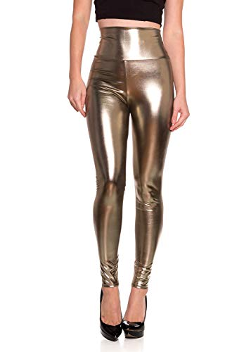 Women's J2 Love Faux Leather High Waist Leggings, Large, Grey Brown Metallic
