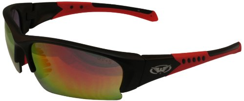 Global Vision Bold G Tech Hydrophobic Sunglasses  Black Frame With Red Trim Red Revo Lens