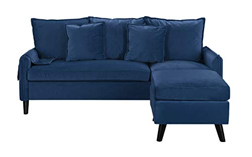(Classic Living Room Velvet Sectional Sofa, L-Shape Couch with Pocket Organizer (Navy))