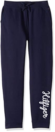 Tommy Hilfiger Girls' Adaptive Jogger Pants with Adjustable Outside Seams, evening blue X-Small