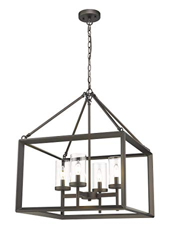 Emliviar 4-Light Lantern Pendant Light, Dining Room Chandelier Cage Hanging Light, Oil Rubbed Bronze Finish with Clear Glass Shade, 3039-4A - Light Bronze Incandescent Chandelier