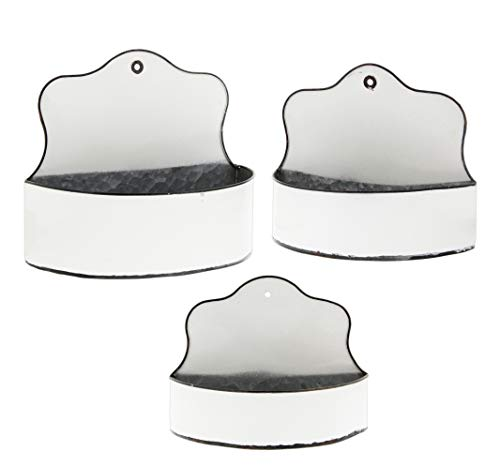 (Set of 3 Assorted Scalloped Metal Wall Pocket Basket Planters, White)