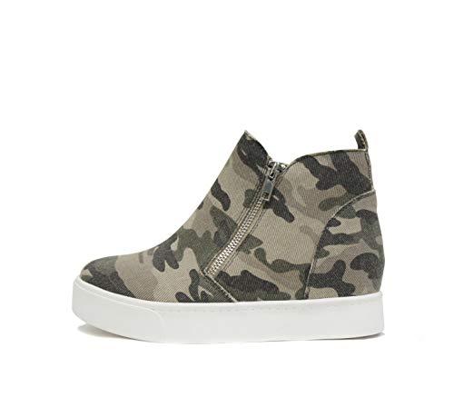 Soda Taylor Hidden Wedge Booties Fashion Sneaker Shoes Side Zipper