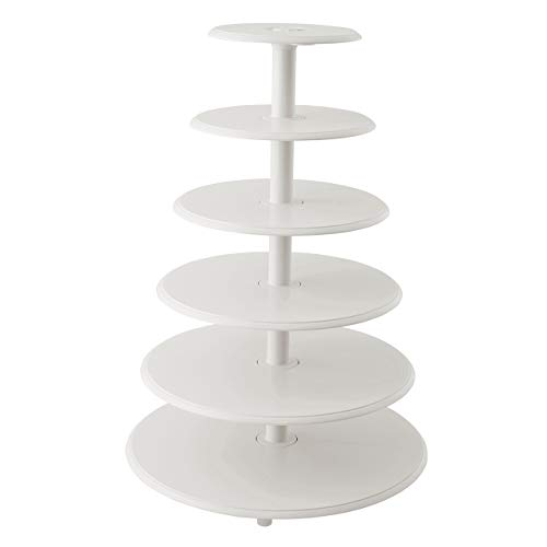Wilton Towering Tiers Cupcake and Dessert Stand, Great for Displaying Cupcakes, Danishes and Your Favorite Hors d'Oeuvres, White, 3-foot, 28-Piece ()