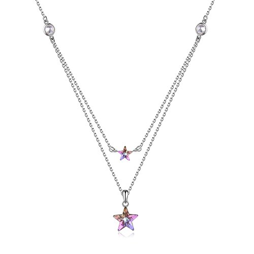 SUE'S SECRET Gift Packing Gift for Mom ♥ Swarovski Element Necklace 925 Sterling Silver Dual Stars Pendant with Swarovski Crystals, 18, Birthday Gift for Women, Mothers Day Jewelry Gifts