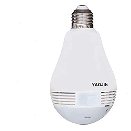 YAOJIN JAS200-F12 2MP Full HD (1920x1080) Bulb Shape Fisheye 360° Panoramic Wireless WiFi [Watch Live Demo Right Now] IP CCTV Security Camera with SD Card Slot