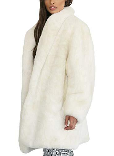 Mujer Abrigo de Piel Sintetica Parka Invierno (Blanco)
