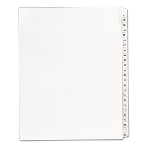 Avery Legal Dividers, Allstate Collated Sets, Letter Size, Side Tab and 51-75 Tab Set (01703)