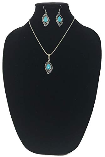 Style Imitation Turquoise Necklace and Ear Rings Fashion Jewelry Set (Leaf Design) ()